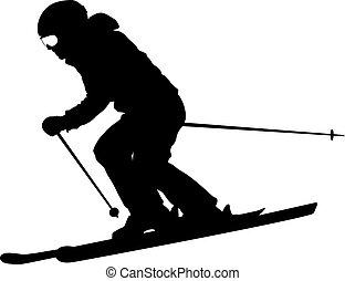 silhouette., vector, slope., dons, speeding, berg, skier, ...
