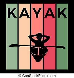 silhouette, vector, sportende, kayaking, activiteit, ...
