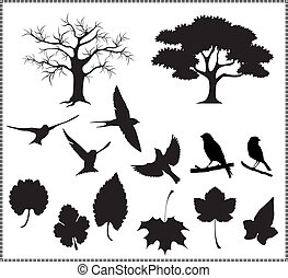 silhouette vector, tree, birds, leaves