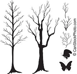 silhouette vector, tree, branch