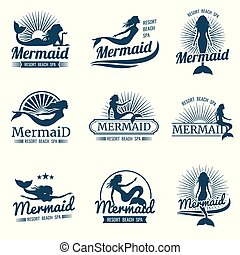 silhouette, vector, verzameling, logos, stylized, mermaid