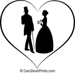 silhouette vector women and man in love