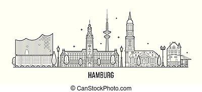 silhouette, vektor, stil, hamburg, skyline, linear