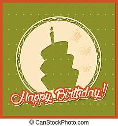 silhouette, vendange, serviette, gâteau anniversaire, carte