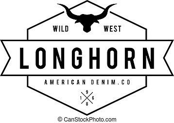 silhouette, vendange, theme., illustration, étiquette, vecteur, taureau, sauvage, head., ouest, texas