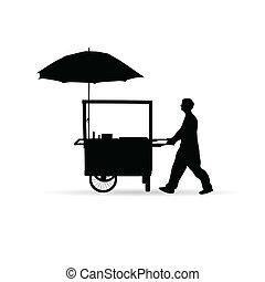 silhouette, vendu, chien, chaud, vecteur, homme