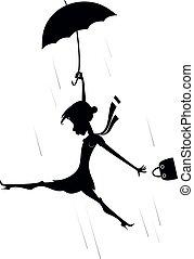 silhouette, venteux, illustration, femme, jour, parapluie