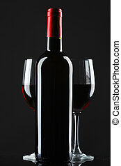 silhouette, verre, arrière-plan noir, vin rouge