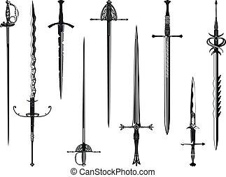 silhouette, verzameling, van, zwaarden