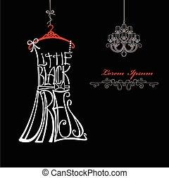 silhouette., vestito nero, poco, donna, parole, dress., candeliere