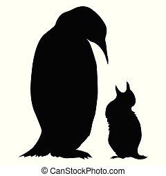 silhouette, vettore, antartico, baby., pinguino, fauna, natura, motives