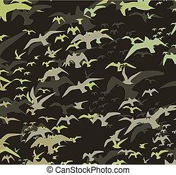 silhouette, vettore, arte, uccelli, serie