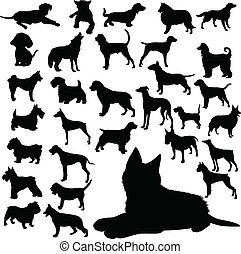 silhouette, vettore, cani