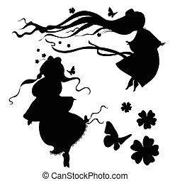 silhouette, vettore, collezioni, fairy.