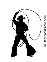 silhouette, vettore, cowboy