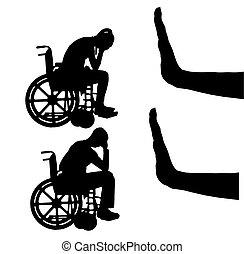 silhouette, vettore, di, triste, donna disabile, e, uomo, in, carrozzella, e, gesto mano, fermata