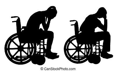 silhouette, vettore, di, uno, triste, donna disabile, e, uomo sedia rotelle, pianto