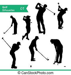 silhouette, vettore, golf, set