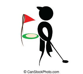 silhouette, vettore, golf