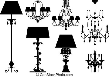 silhouette, vettore, illuminazione, collezione