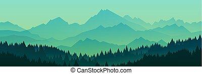 silhouette, vettore, illustration., foresta