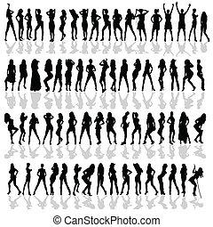 silhouette, vettore, nero, vario, ragazza, pose