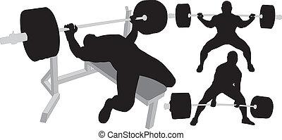 silhouette, vettore, powerlifting