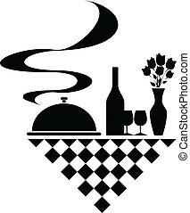 silhouette, vettore, ristorazione