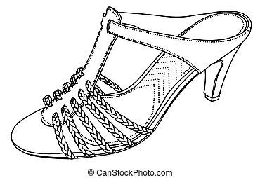 silhouette, vettore, -, scarpe