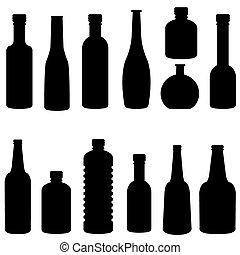 silhouette, vettore, set, bottiglia