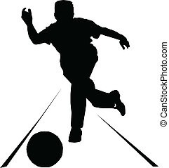 silhouette, vettore, sport, bowling