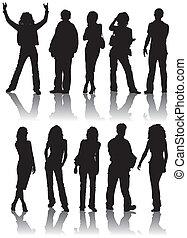 silhouette, vettore, uomo, donne
