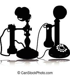 silhouette, vettore, vecchio telefono