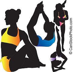 silhouette, vettore, yoga