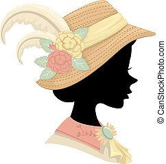 Silhouette Victorian Girl Hat Illustration