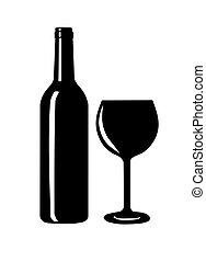 silhouette., vidrio vino, botella