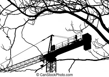 Silhouette view of construction crane