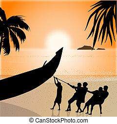 silhouette view of fishermen pulling boat, beachside