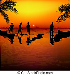 silhouette view of fishermen using nets for fishing
