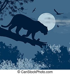 Silhouette view of panther on a tree against the moon at...