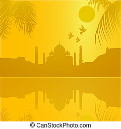 silhouette view of Taj Mahal, agra, India, lake view -...