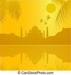 silhouette view of Taj Mahal, agra, India, lake view