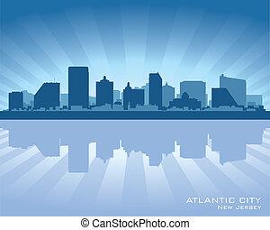 silhouette, ville, horizon, atlantique, new jersey