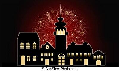 silhouette ville, vieux, titre, nouveau, couleurs, fond, année, changer, feud'artifice, bannière, rouges, heureux