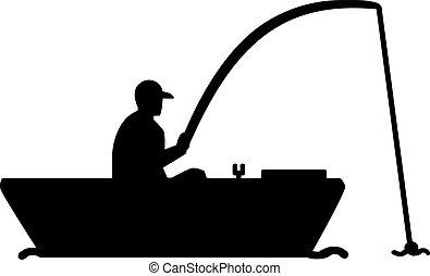 silhouette, visserboot, man