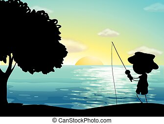 silhouette, visserij
