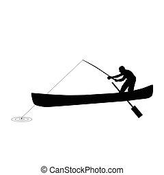 silhouette, visserij, illustratie, man