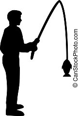 silhouette, visserij, man