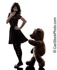 silhouette, vizioso, donna, strano, orso teddy, giovane