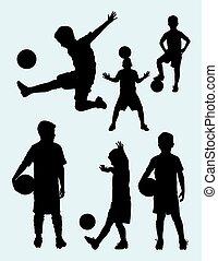 silhouette, voetbal, 01., speler, junior